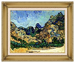 Vincent Van Gogh Mountains At Saint Remy canvas with gallery gold wood frame