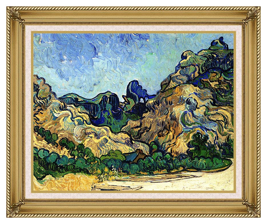 Vincent van Gogh Mountains at Saint Remy with Gallery Gold Frame w/Liner