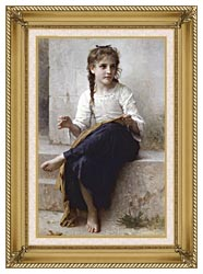 William Bouguereau Young Seamstress Sewing canvas with gallery gold wood frame