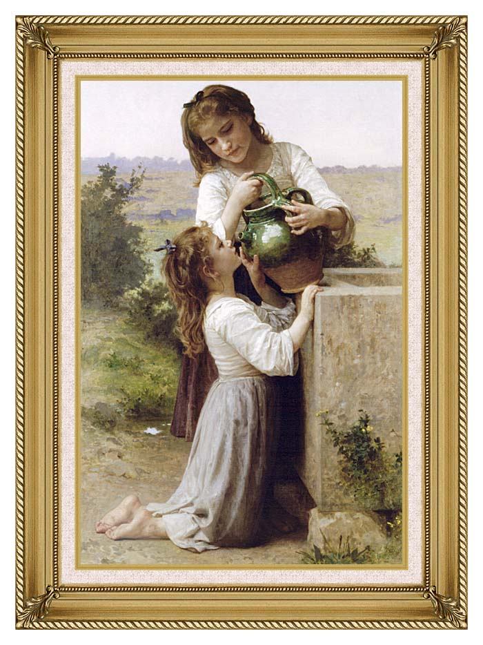 William Bouguereau Girls At the Fountain with Gallery Gold Frame w/Liner
