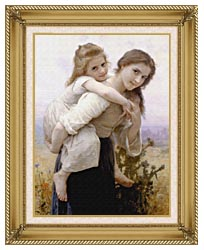 William Bouguereau Not Too Much To Carry canvas with gallery gold wood frame