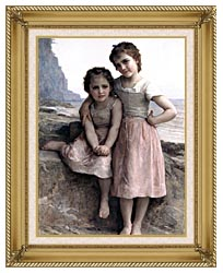 William Bouguereau On The Rocky Beach canvas with gallery gold wood frame