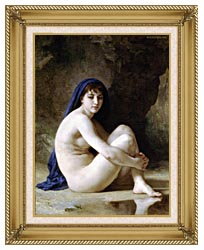 William Bouguereau Seated Nude canvas with gallery gold wood frame