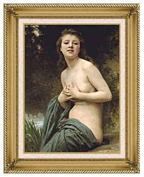 William Bouguereau Spring Breeze canvas with gallery gold wood frame