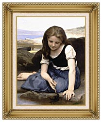 William Bouguereau The Crab canvas with gallery gold wood frame