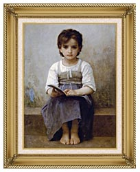 William Bouguereau The Difficult Lesson canvas with gallery gold wood frame