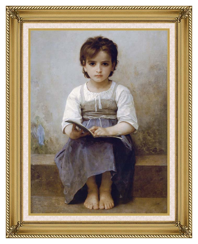 William Bouguereau The Difficult Lesson with Gallery Gold Frame w/Liner