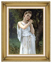 William Bouguereau The Earrings canvas with gallery gold wood frame