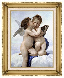 William Bouguereau The First Kiss canvas with gallery gold wood frame