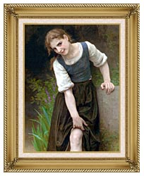 William Bouguereau The Ford canvas with gallery gold wood frame