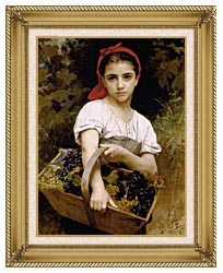 William Bouguereau The Grape Picker canvas with gallery gold wood frame