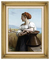 William Bouguereau The Harvester canvas with gallery gold wood frame