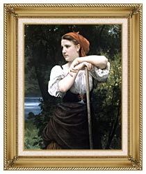 William Bouguereau The Haymaker canvas with gallery gold wood frame