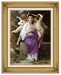 William Bouguereau The Hearts Awakening canvas with gallery gold wood frame