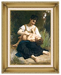 William Bouguereau The Joy Of Motherhood canvas with gallery gold wood frame