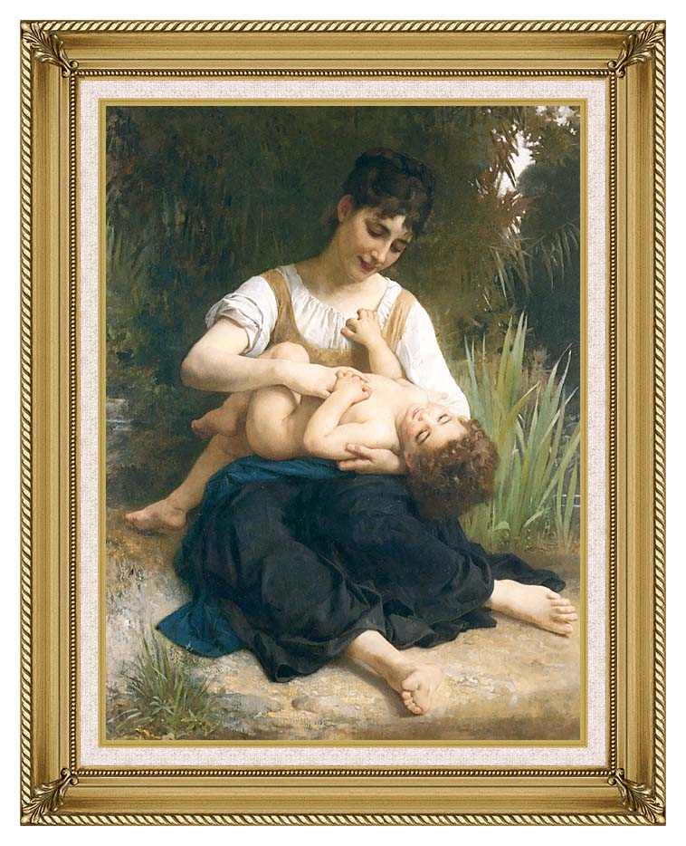 William Bouguereau The Joy of Motherhood with Gallery Gold Frame w/Liner
