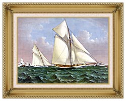 Currier And Ives Mayflower Saluted By The Fleet canvas with gallery gold wood frame
