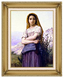 William Bouguereau The Knitter canvas with gallery gold wood frame