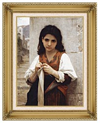 William Bouguereau Young Girl Knitting canvas with gallery gold wood frame