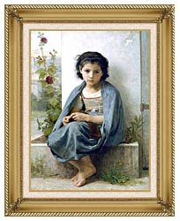 William Bouguereau The Little Knitter canvas with gallery gold wood frame