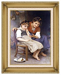 William Bouguereau The Little Sulk canvas with gallery gold wood frame
