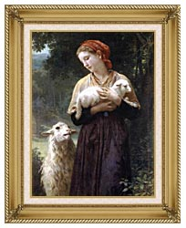 William Bouguereau The Shepardess canvas with gallery gold wood frame