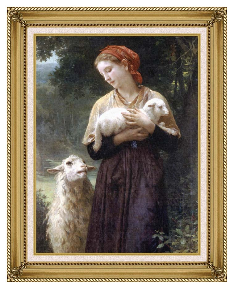 William Bouguereau The Shepardess with Gallery Gold Frame w/Liner