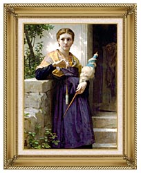 William Bouguereau The Spinner canvas with gallery gold wood frame