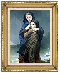 William Bouguereau The Storm canvas with gallery gold wood frame