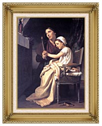 William Bouguereau The Thank Offering canvas with gallery gold wood frame