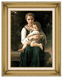 William Bouguereau The Two Sisters canvas with gallery gold wood frame
