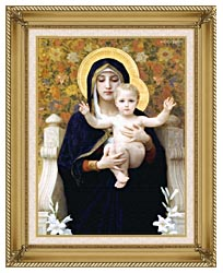William Bouguereau The Virgin Of The Lilies canvas with gallery gold wood frame