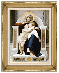 William Bouguereau The Virgin Baby Jesus And Saint John The Baptist canvas with gallery gold wood frame