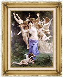 William Bouguereau The Wasps Nest canvas with gallery gold wood frame