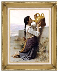 William Bouguereau Thirst canvas with gallery gold wood frame