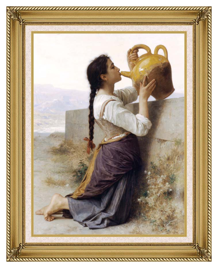 William Bouguereau Thirst with Gallery Gold Frame w/Liner