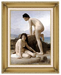 William Bouguereau Two Bathers canvas with gallery gold wood frame