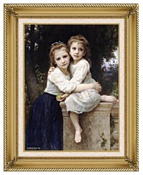 William Bouguereau Two Sisters canvas with gallery gold wood frame