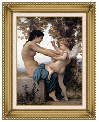 William Bouguereau Young Girl Defending Herself Against Love canvas with gallery gold wood frame