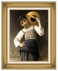 William Bouguereau Young Girl Going To The Fountain canvas with gallery gold wood frame