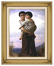 William Bouguereau Young Gypsies canvas with gallery gold wood frame