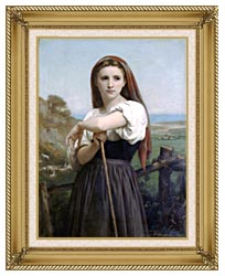 William Bouguereau Young Shepherdess canvas with gallery gold wood frame