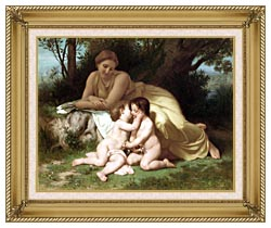 William Bouguereau Young Woman And Children Embracing canvas with gallery gold wood frame