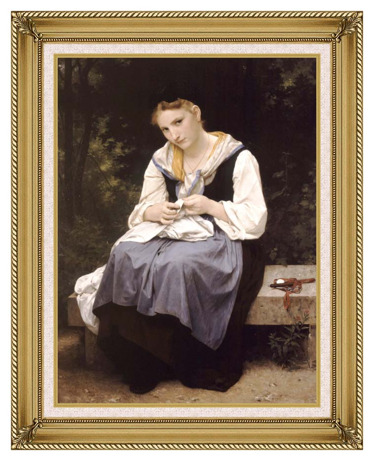 William Bouguereau Young Worker with Gallery Gold Frame w/Liner