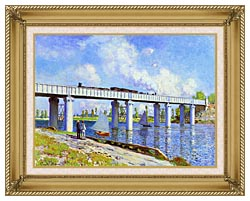 Claude Monet The Railroad Bridge Argenteuil canvas with gallery gold wood frame