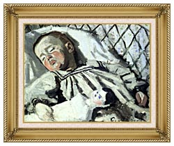 Claude Monet The Artists Son Asleep canvas with gallery gold wood frame