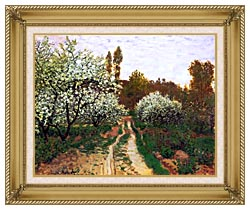 Claude Monet Flowering Apple Trees canvas with gallery gold wood frame