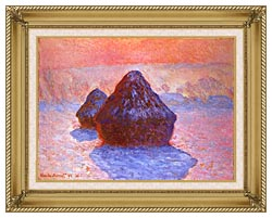 Claude Monet Haystacks Snow Effect canvas with gallery gold wood frame