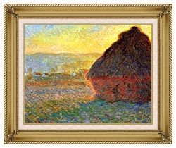 Claude Monet Haystack At Sunset Near Giverny canvas with gallery gold wood frame