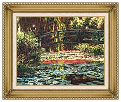 Claude Monet Japanese Foot Bridge At Giverny canvas with gallery gold wood frame